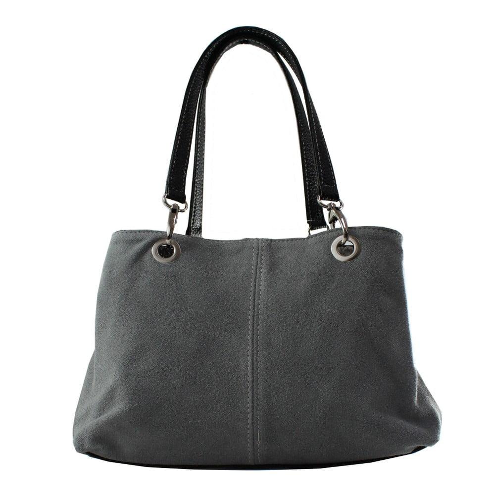 Sivá kožená kabelka Chicca Borse Ink ad9f3d22d87