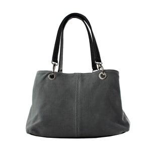 Sivá kožená kožená kabelka Chicca Borse Ink