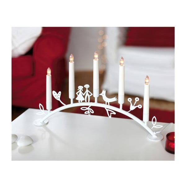 Svietnik s LED svetielkami Dena, biely