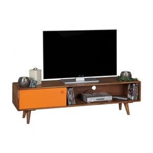 Hnedo-oranžová TV komoda z masívneho sheeshamového dreva Skyport REPA, výška 40 cm
