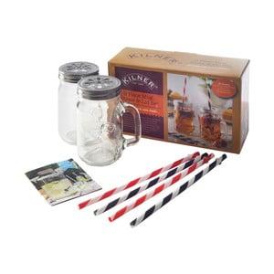 Set sklenených nádob a slamiek na drinky Kilner