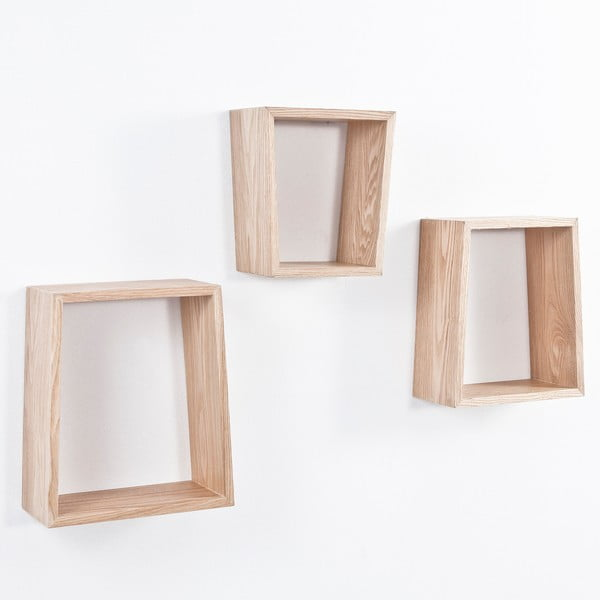 Sada 3 políc z dubového dreva Tomasucci Trapezio