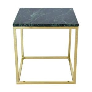 Odkladací stolík s podnožou v zlatej farbe a zelenou mramorovou doskou RGE Accent