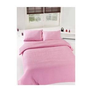 Ružová ľahká prikrývka cez posteľ Pink Pique, 200x235cm