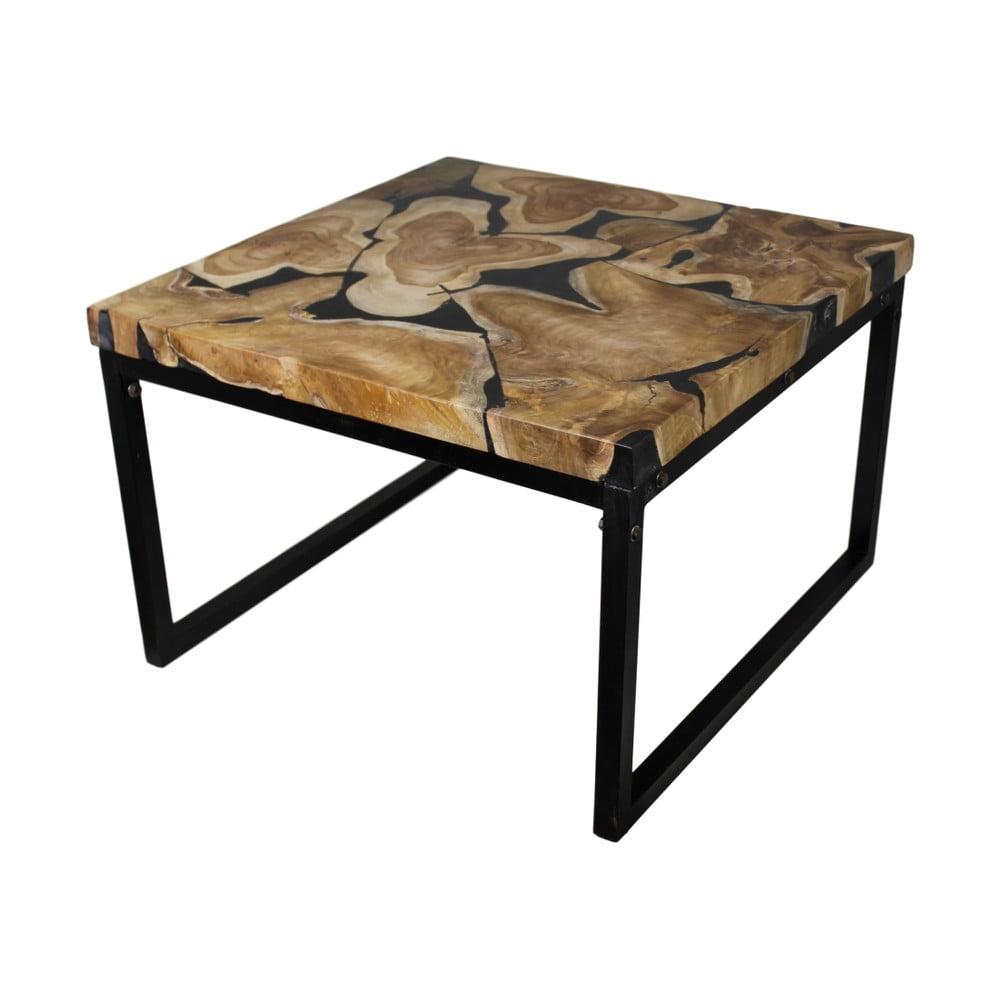 Konferenčný stolík z kovu a teakového dreva HSM collection Salon, 60 × 37 cm