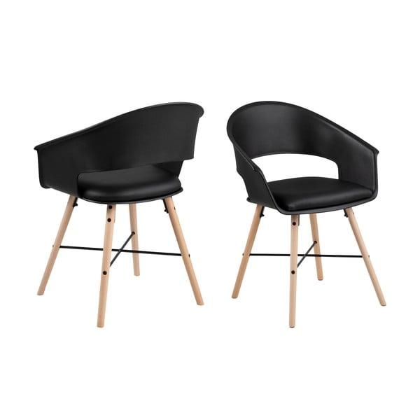 Čierna jedálenská stolička s podnožím z bukového dreva Actona Ivar