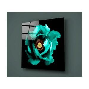 Čierno-tyrkysový sklenený obraz Insigne Calipsa Turq, 30 × 30 cm