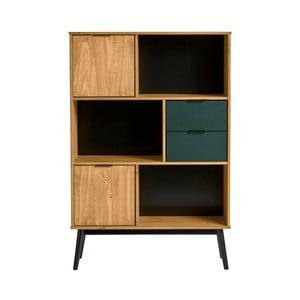 Knižnica so zelenými zásuvkami z borovicového dreva Marckeric Lucie