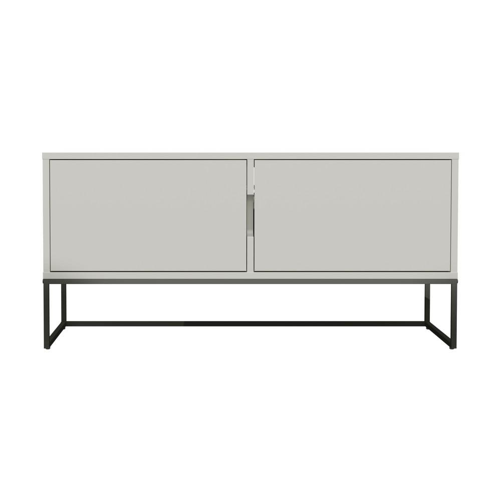 Biely dvojdverový TV stolík s kovovými nohami v čiernej farbe Tenzo Lipp, šírka 118 cm