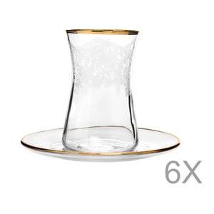 Sada 6 pohárov s tanierikom Mezzo Snow, 170 ml