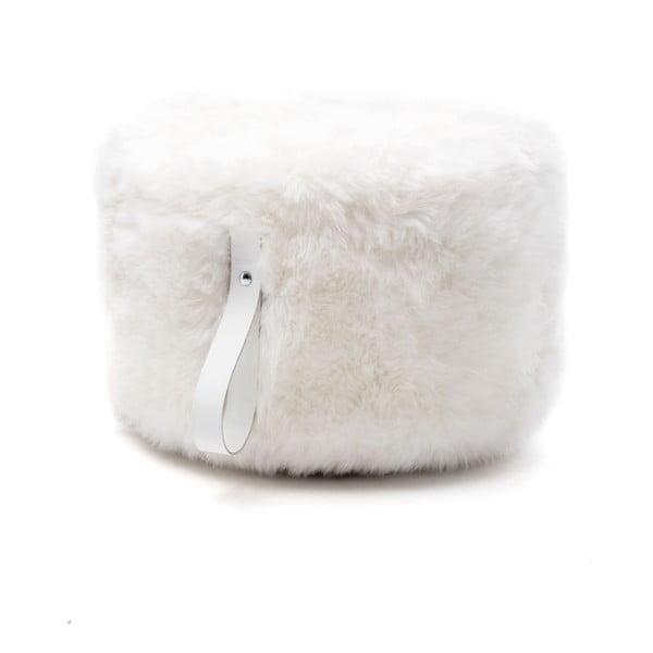 Biely okrúhly puf z ovčej vlny Royal Dream