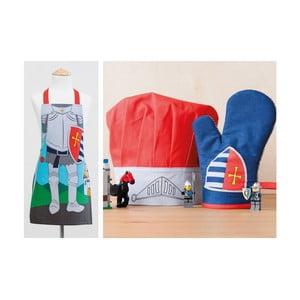 Detská sada zástery, čapice a kuchynskej rukavice Knight