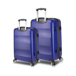 Sada 2 modrých cestovných kufrov na kolieskach s USB porty My Valice LASSO Large & Medium