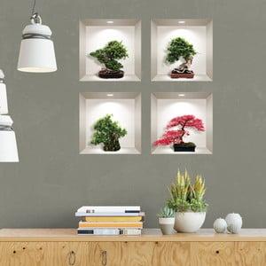 Sada 4 3D samolepiek na stenu Ambiance Bonsai Maple