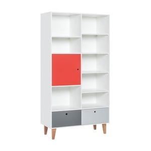 Knižnica s červenými dvierkami z dubového dreva Vox Concept, 105 x 215 cm