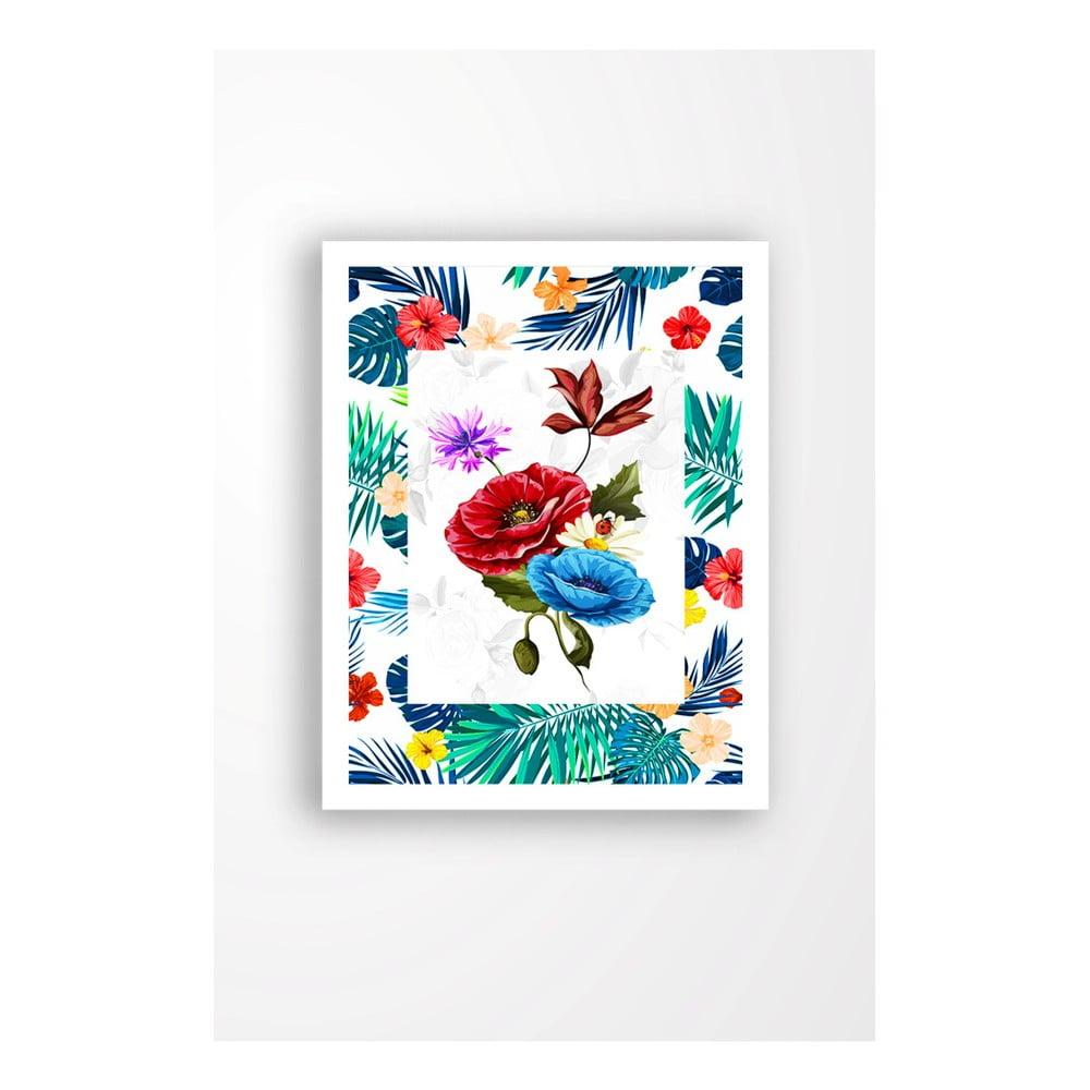Nástenný obraz na plátne v bielom ráme Tablo Center Tropic, 29 × 24 cm