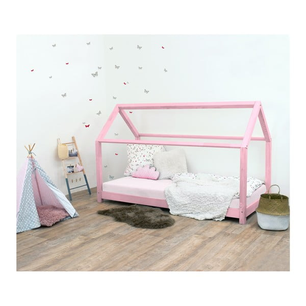 Ružová detská posteľ bez bočníc zo smrekového dreva Benlemi Tery, 90×180 cm