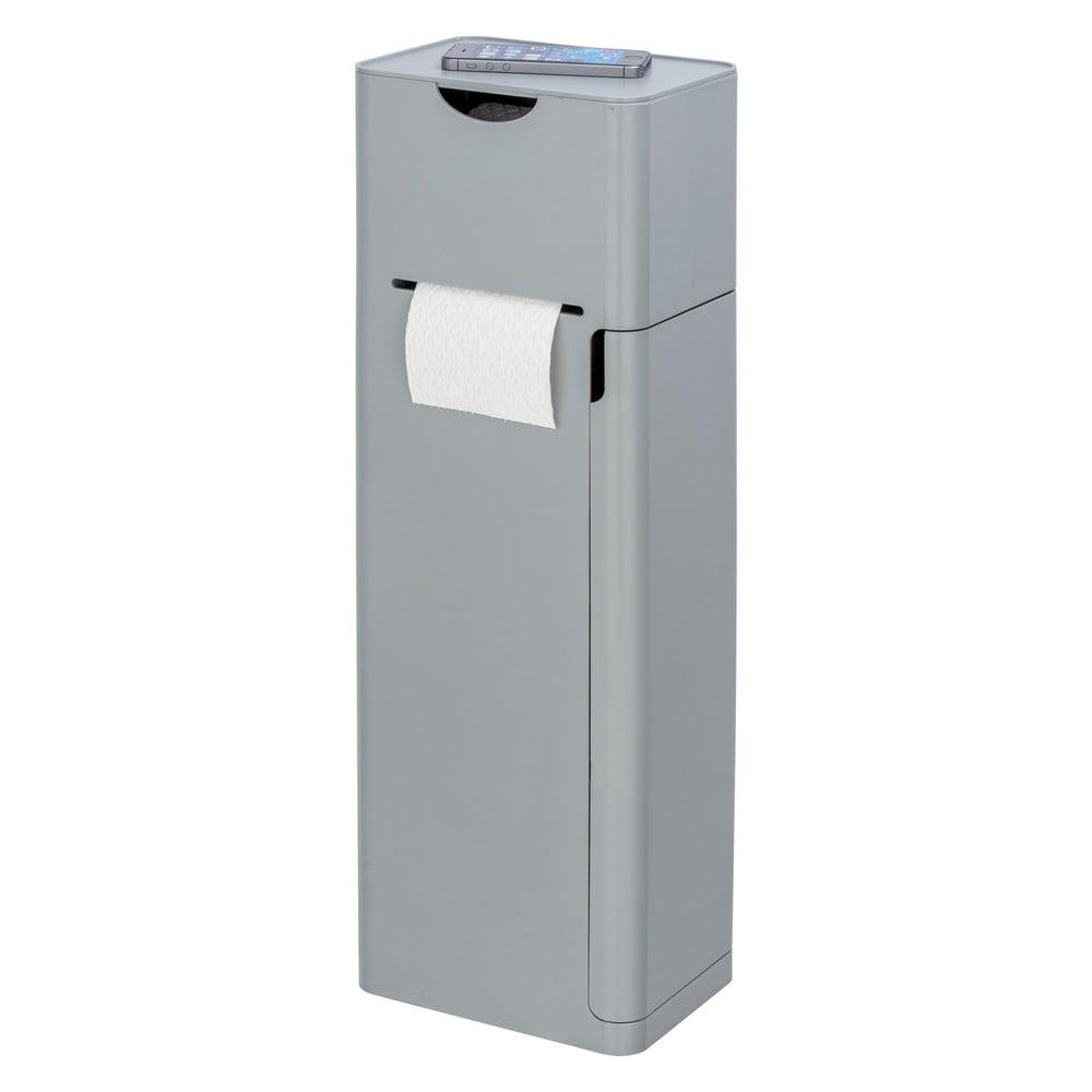 Sivý stojan na toaletný papier s WC kefou Wenko Imon