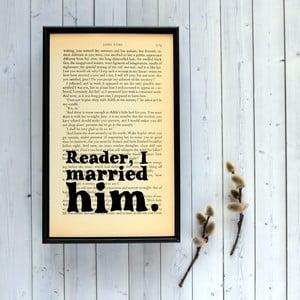 Plagát v drevenom ráme Jane Eyre Wedding