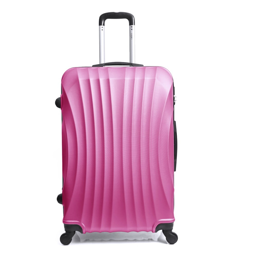 Ružový cestovný kufor na kolieskach Hero Moscou-e, 30 l