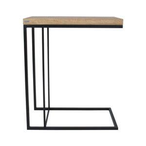 Čierny odkladací stolík s doskou z dubového dreva Take Me HOME Felix, 50×30cm