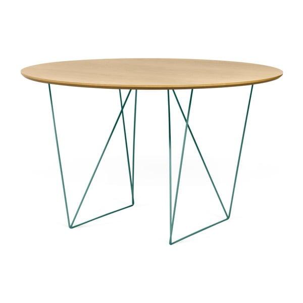 Jedálenský stôl v dekore dubového dreva so zelenou podnožou TemaHome Row, Ø120cm
