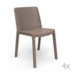 Sada 4 hnedých záhradných stoličiek Resol Fresh