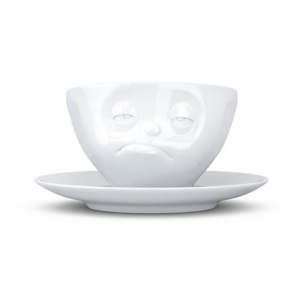 Biely mrzutý porcelánový hrnček s tanierikom 58products