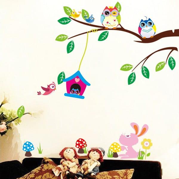 Sada nástenných detských samolepiek Ambiance Owls and Bird Cage On Tree