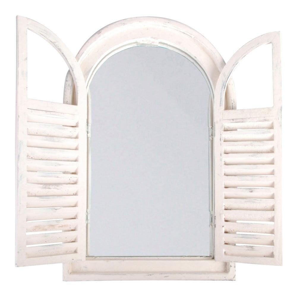 Biele zrkadlo ručnej výroby s okenicou Ego Dekor