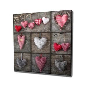 Nástenný obraz na plátne Hearts, 45 × 45 cm