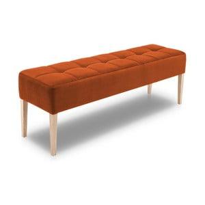 Oranžová lavica s dubovými nohami Jakobsen home Marino, dĺžka 152 cm