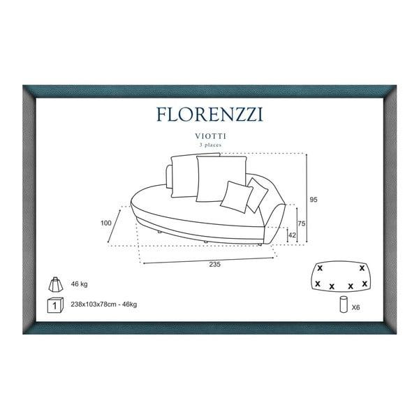 Tmavosivá pohovka pre troch Florenzzi Viotti s operadlom na pravej strane