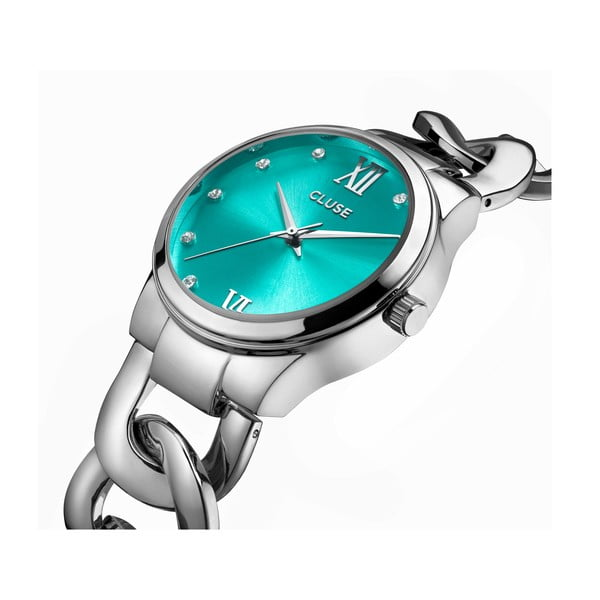 Dámské hodinky Elegante Stones Silver/Mint, 38 mm