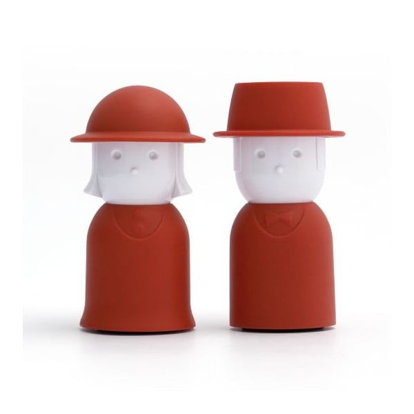 Červená soľnička a korenička Qualy Mr.Pepper & Mrs. Salt