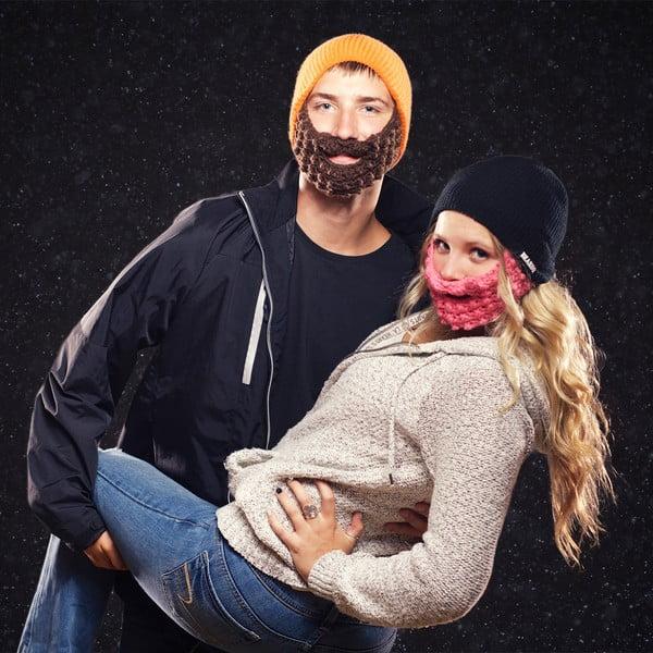 Červená čiapka s čiernou bradou Beardo Attached
