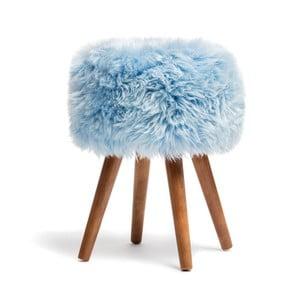 Stolička s modrým sedákom z ovčej kožušiny Royal Dream, ⌀ 30 cm