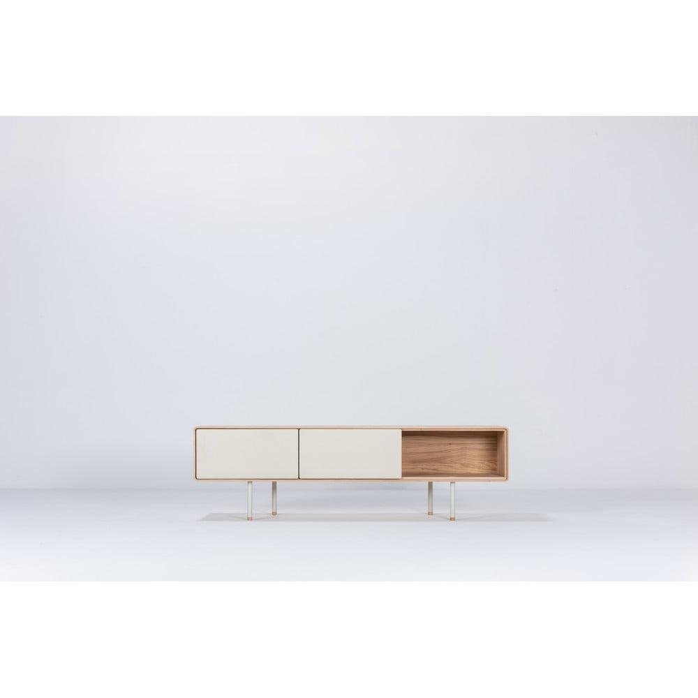 Biely TV stolík z dubového dreva Gazzda Mushroom, šírka 160 cm