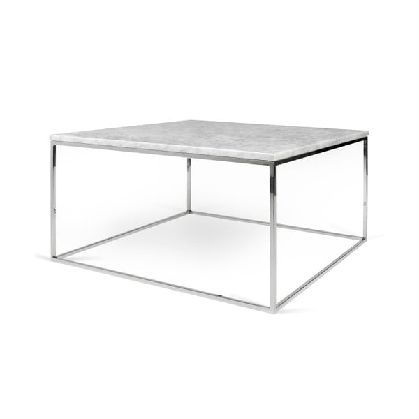 Biely mramorový konferenčný stolík s chrómovými nohami TemaHome Gleam, dĺžka 75cm
