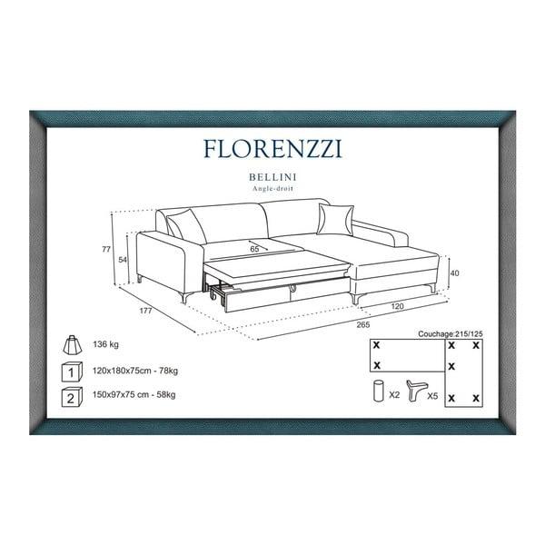 Čierna rozkladacia pohovka Florenzzi Bellini s leňoškou na pravej strane