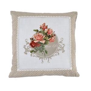 Vankúš Beige Roses, 45x45 cm