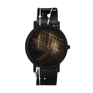 Unisex hodinky s čierno-bielym remienkom South Lane Stockholm Avant Gold Scratch