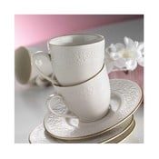 Sada 6 porcelánových hrnčekov s tanierikom Simple White