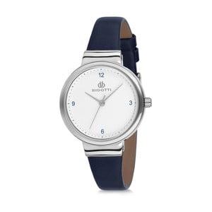 Dámske hodinky s tmave modrým koženým remienkom Bigotti Milano Silverina
