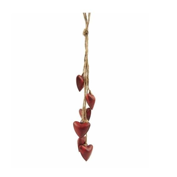 Závesná dekorácia Antic Line Six Red Hearts