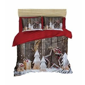 Sada obliečky a plachty na dvojposteľ Christmas Wood, 200×220 cm