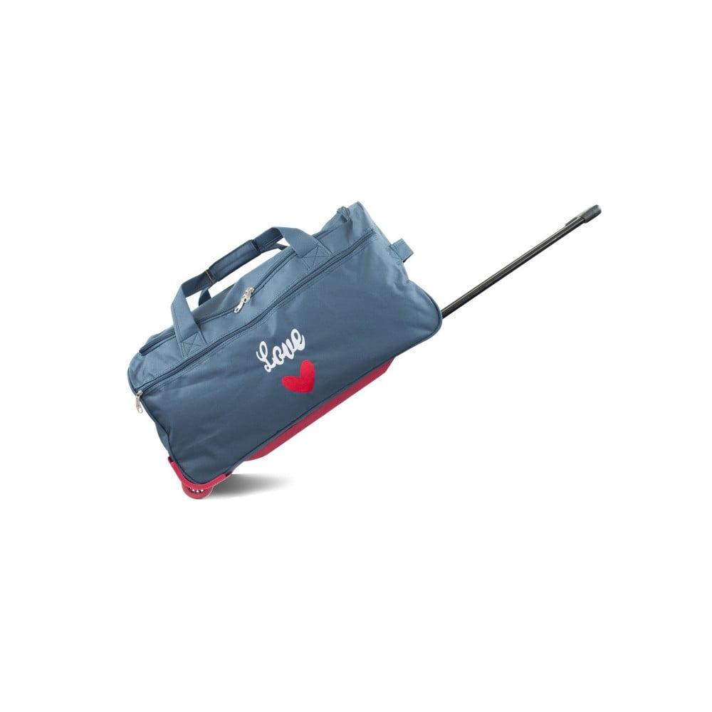 Modrá cestovná taška na kolieskach INFINITIF, dĺžka 60 cm