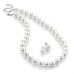 Sada náhrdelníkov a náušníc Pearl Silver