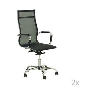 Sada 2 čiernych kancelárskych stoličiek Evergreen Hous Jane