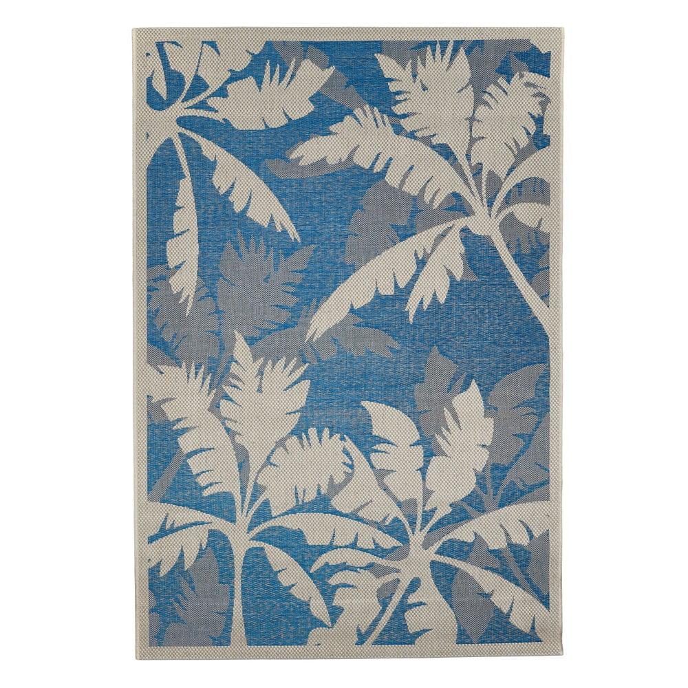 Modro-sivý vonkajší koberec Floorita Palms Blue, 135 x 190 cm